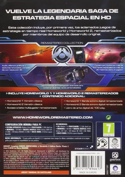 Ubisoft Homeworld Remastered Collection EMEA/Spanish Cover - Back